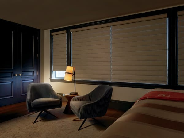 Pirouette Blinds Room Darkening — The face fabric has a room-darkening liner. The liner blocks the light — a preferred choice for bedrooms