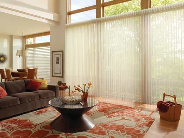 Sliding Door Sheer Blind Patio Door — You cover wide expanses of patio door with this refined style. Add sheer elegance to your room wth soft fabric vanes