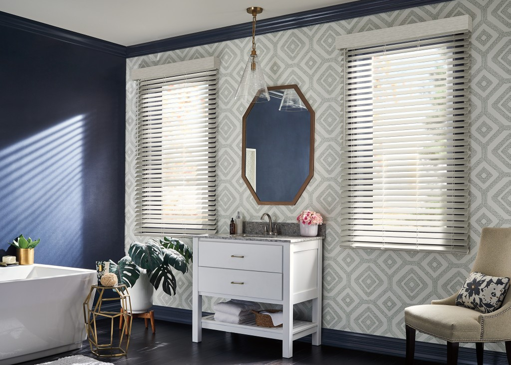 Window Faux Wood Blinds Bathroom - Faux Wood window covering choice is excellent for areas with high moisture