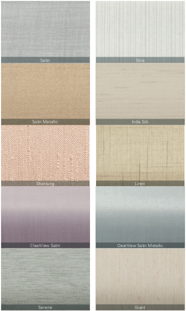 Pirouette Blind Fabric Choices — Choose from ten beautifully textured fabric styles to dress your windows. Bring fabric warmth to your windows