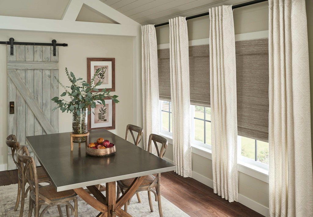 Woven Wood Blind Dining — You want dining space to be modern and uncluttered, but comfortable and inviting. Classic flat panels look elegant