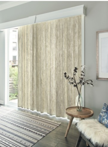 Patio Door Natural Drapery — Drapery made of natural woven materials offers a versatile fabric choice - neutral hues to darker tones.