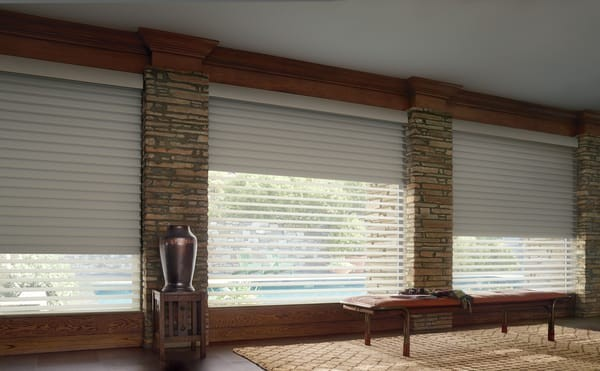 Silhouette Blind Room Darkening — Innovating Duolite System from Hunter Douglas — Back roller shade provides light blocking for better sleep