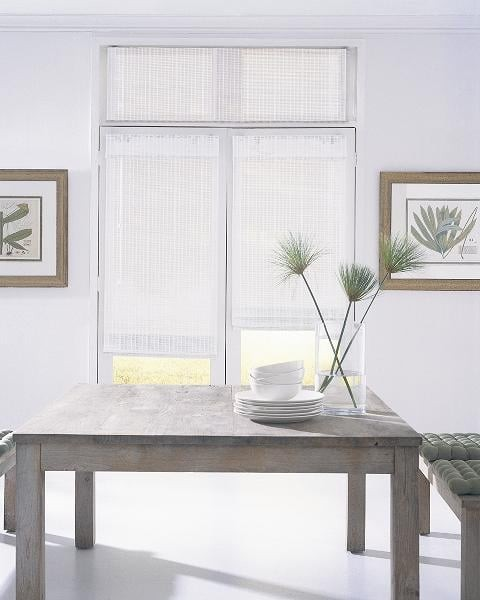 Dining Woven Wood Blind — Give your dining room windows an updated, refreshing vibe with modern style grass weave shades — contemporary tone