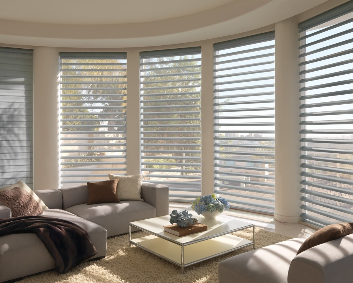 Pirouette shades in a family room area