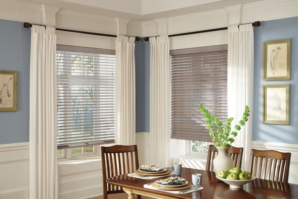 Window Composite Blinds Dining-room - A window covering choice that is a smart alternative to real wood blinds
