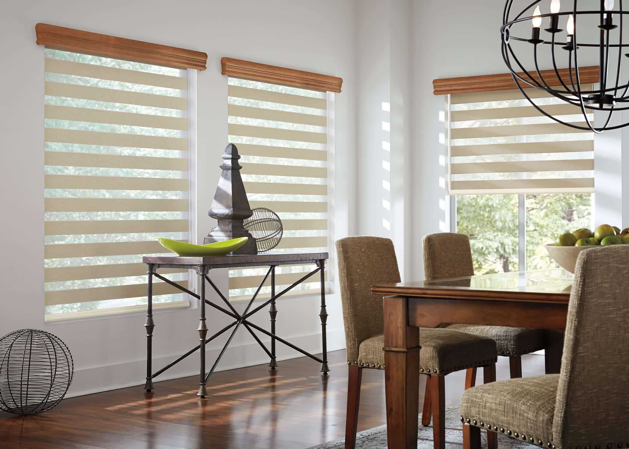 Zebra Blinds Dining Room - Allow lots of light to filter into your room. The sheer fabric is see-through, and the privacy fabric is translucent. Keep UV Out