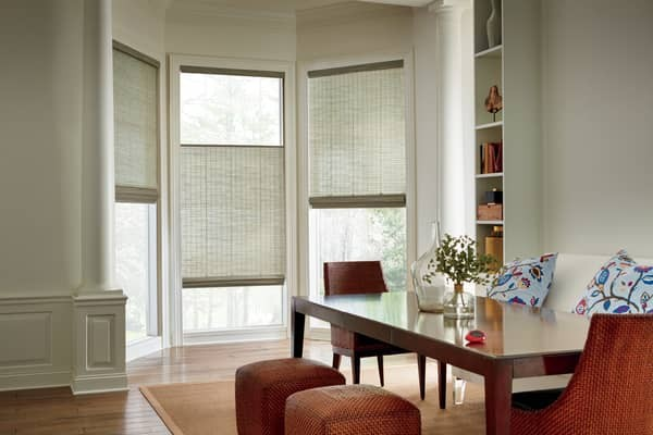 Woven Wood Shade TopDown — Use Top Down natural shades to move the blind from both sides — light and privacy at the same time, versatile