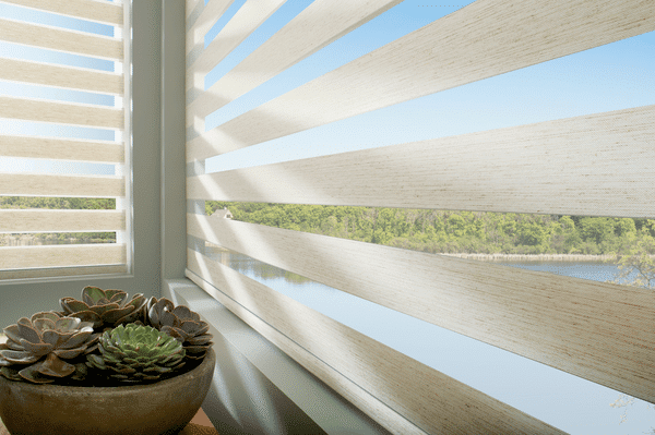 Zebra Blinds Sheer Roller - Sheer roller shade that alternates between sheer view through and privacy fabric bands.