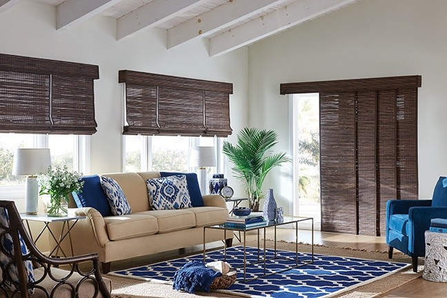 Patio Door Panel Shade — Sliding Panel shadings for the patio door window opening create a casual layering of natural materail, add contrast
