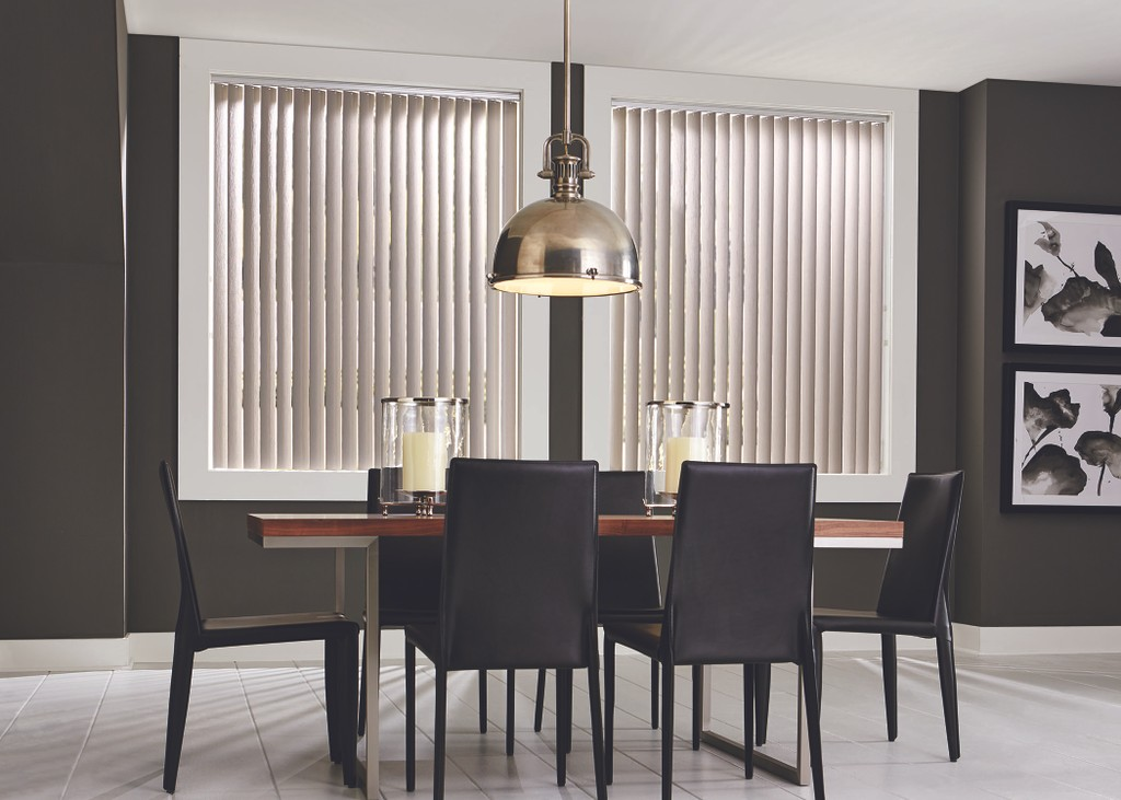 Window Vertical Blinds Dining Area - Vertical vanes traverse to left or right and offer good light control. Vanes are made of fabric, sheer, or vinyl.