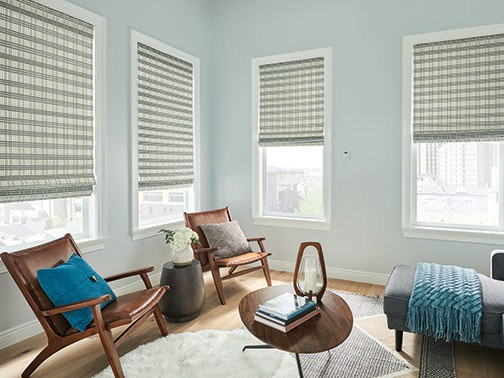 Natural Shade Tailored Roman — Create a family room window covering setting that feels light, bright, uncluttered, and natural.