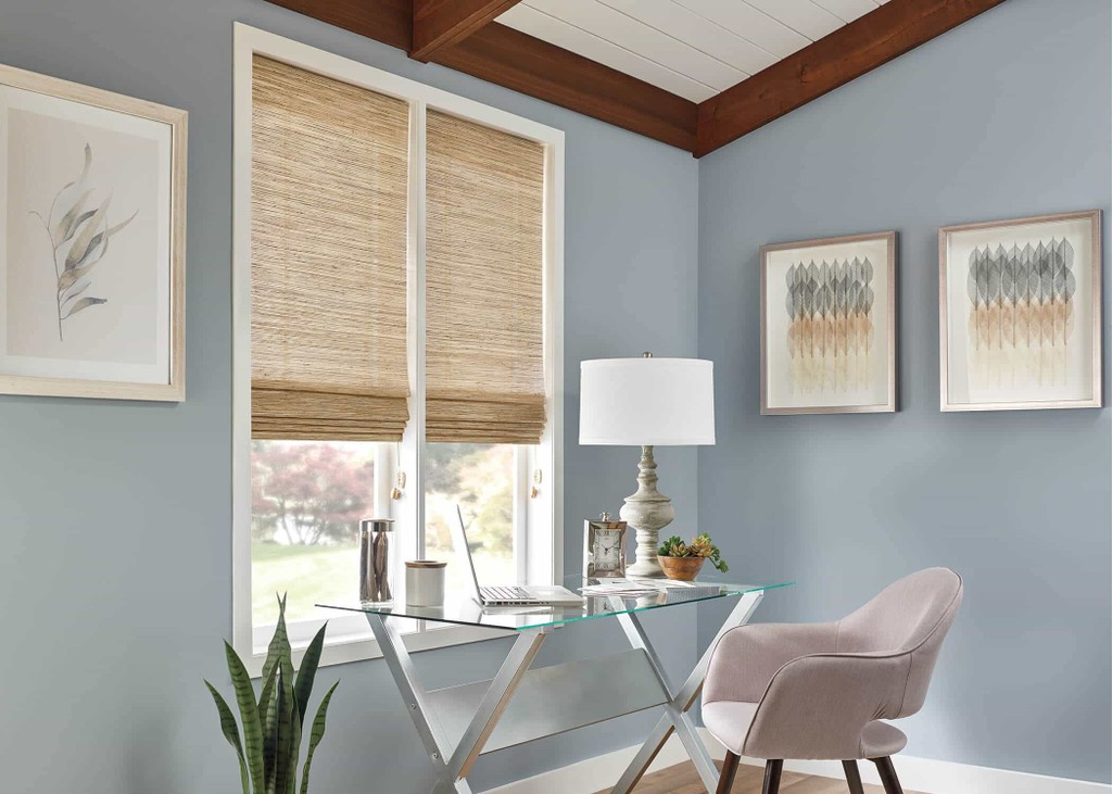 Natural Shade Office Blind — Make your home office look stylish with ample sunlight and uncluttered surfaces — keep blinds clean and calming.
