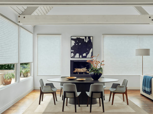 Cellular Roller Shades Living Room - Softly curved contours to provide added insulation