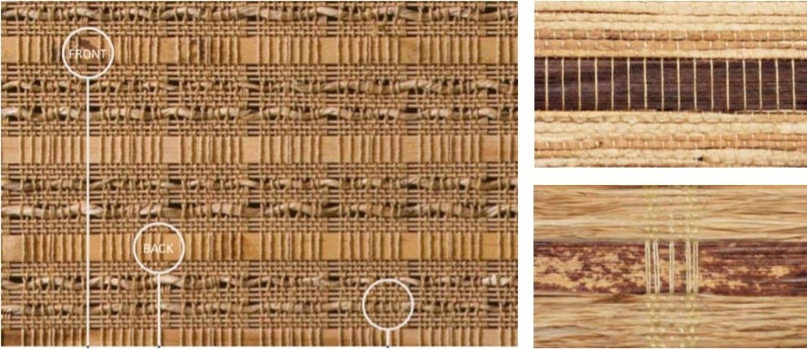 Woven Wood Blind Bamboo — Weaves evoke a cozy feel in wood colors of walnut, moss and straw. Front and back face of bamboo slats alternate