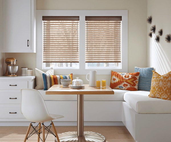 Window Aluminum Blinds Dining Area - Sleek, thin aluminum slats in range of colors, finishes and textures can complement any decor