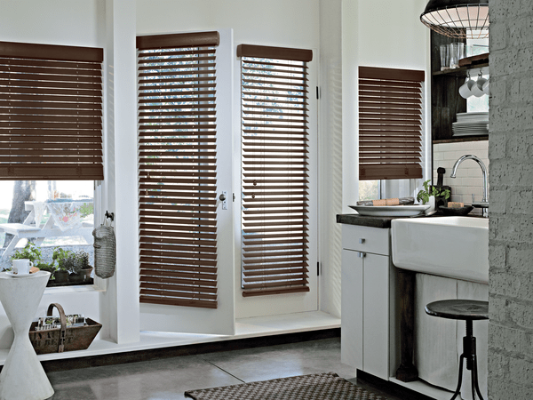 Window Wood Blinds Family-room Area - Each slat shows wood grain and nature's beauty