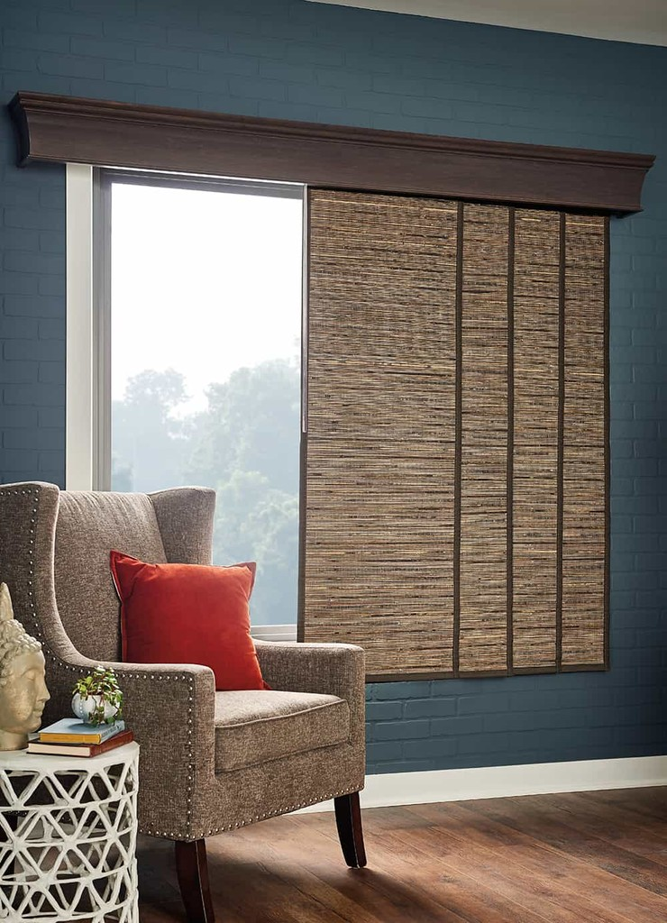 Woven Wood Patio Sliding — Panel track blind is an elegant alternative to vertical blinds to cover a sliding glass door or large window